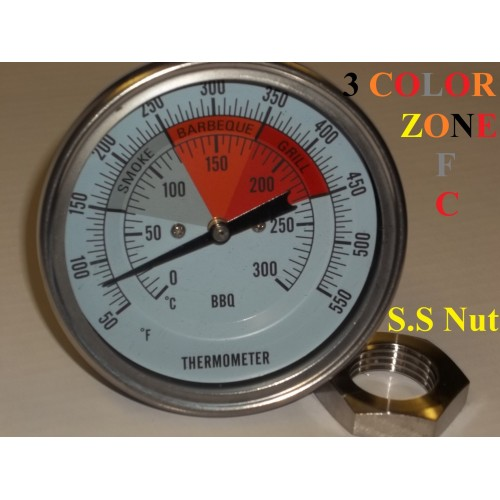 Temperature Gauge Thermometer 3 Bbq Pit Smoker Grill F C Thermometer Gauge 1 2 Npt Fahrenheit