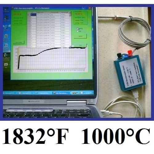 """58 K Thermocouple Sensor High Temperature Controller 4/"""" Probe 1292 °F"""
